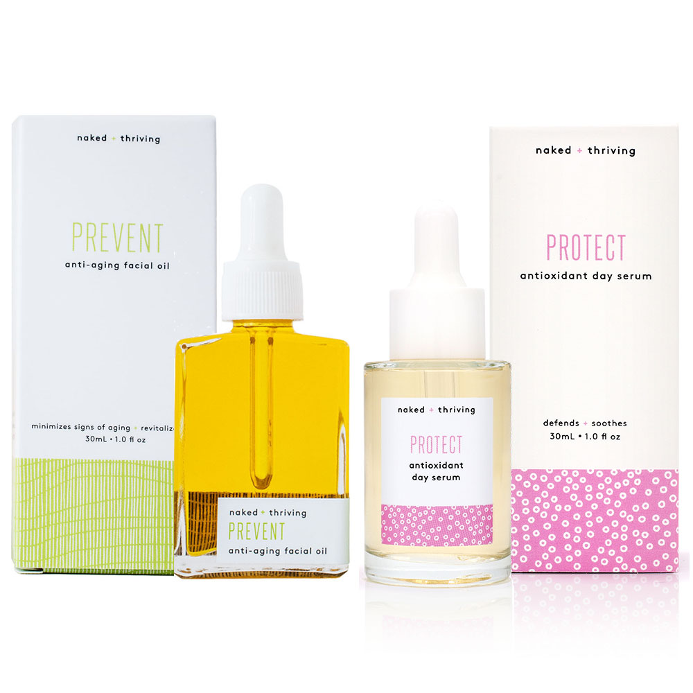 The Day Set:  Protect Antioxidant Serum + Prevent Anti-Aging Facial Oil