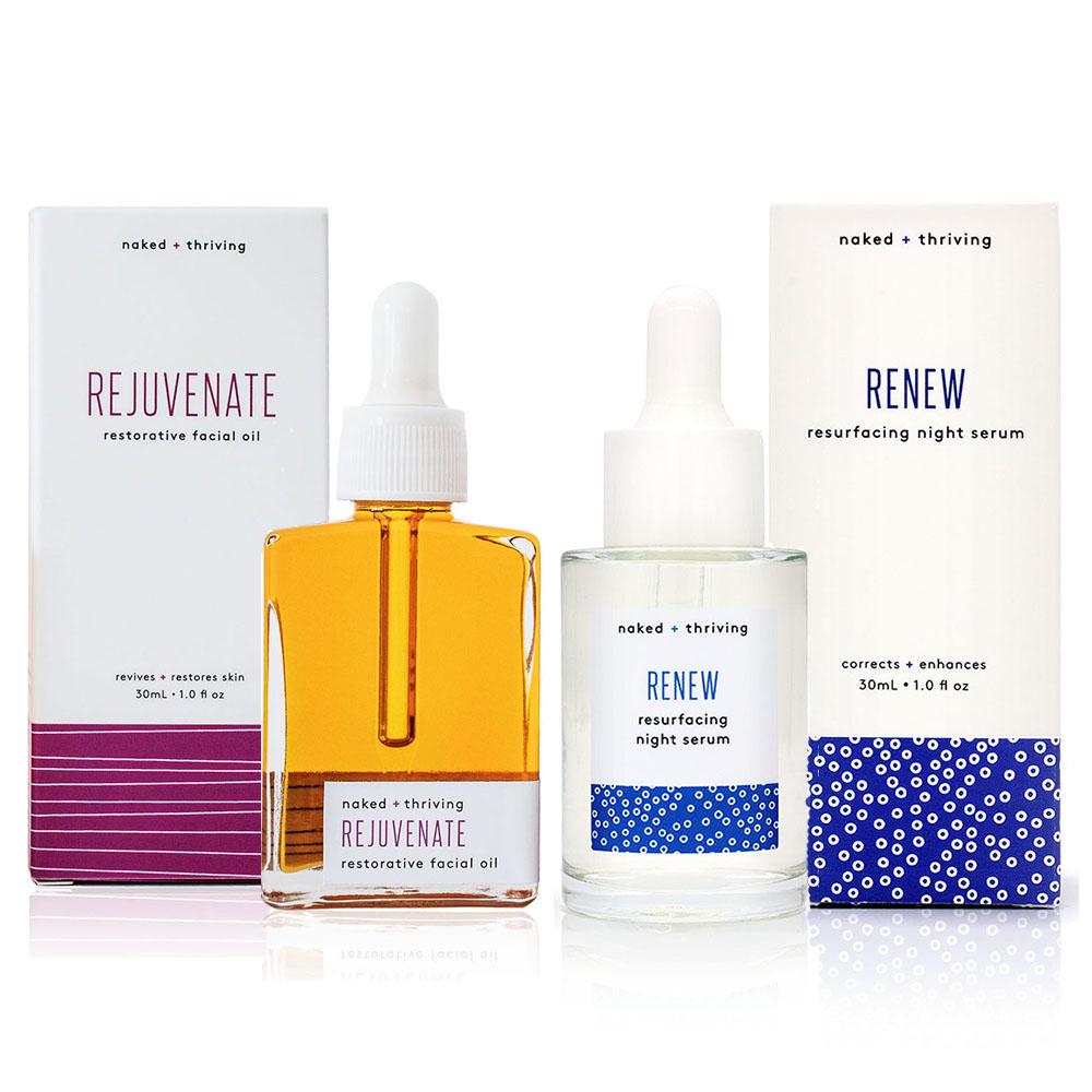 The Night Set:  Renew Resurfacing Serum + Rejuvenate Restorative Facial Oil